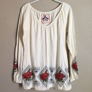 Johnny Was Long Sleeve Embroidered Tunic Top